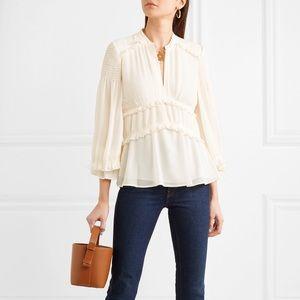 Tory Burch Stella ruffled plissé-chiffon blouse